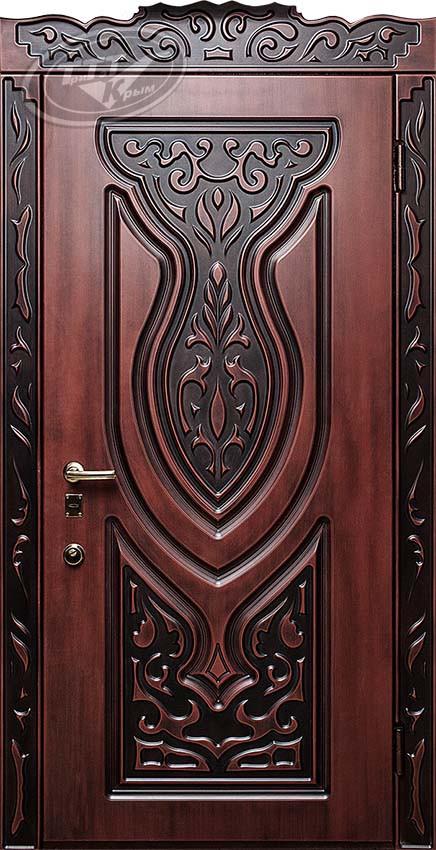 покрытие входной двери полиуретаном redblack-патина