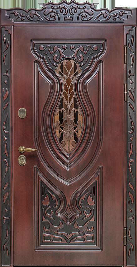 Входная дверь Къуванч со стеклом и решеткой