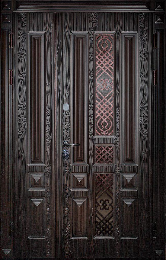 Полуторная входная дверь металлическая Легион 3D St Elit 2 створки 2/3