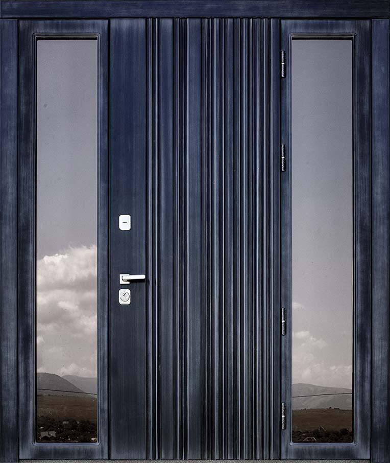 Входная дверь для частного дома MARCO  STF (симметричные остекленные фрамуги)