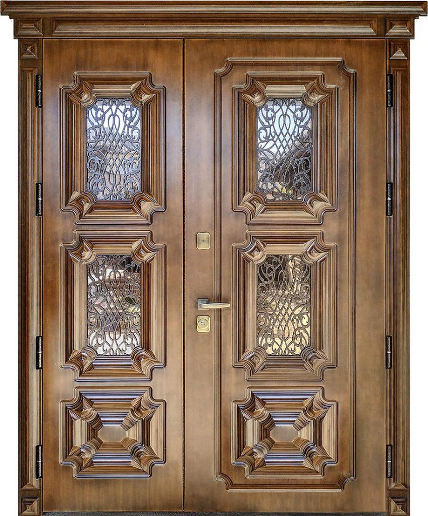 Входная двустворчатая дверь «Эталон 3D ST Elit» в частный дом