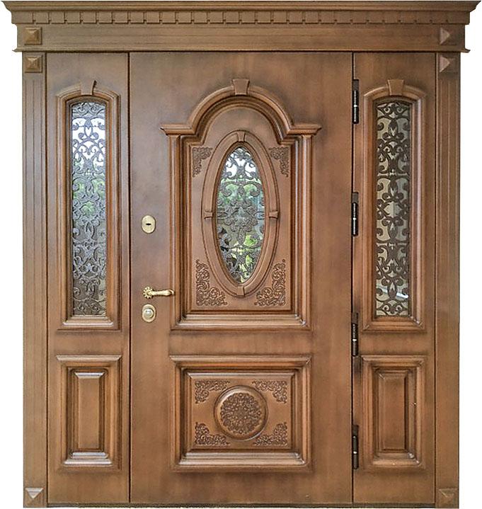Входная дверь для частного дома Монарх с остекленными фрамугами